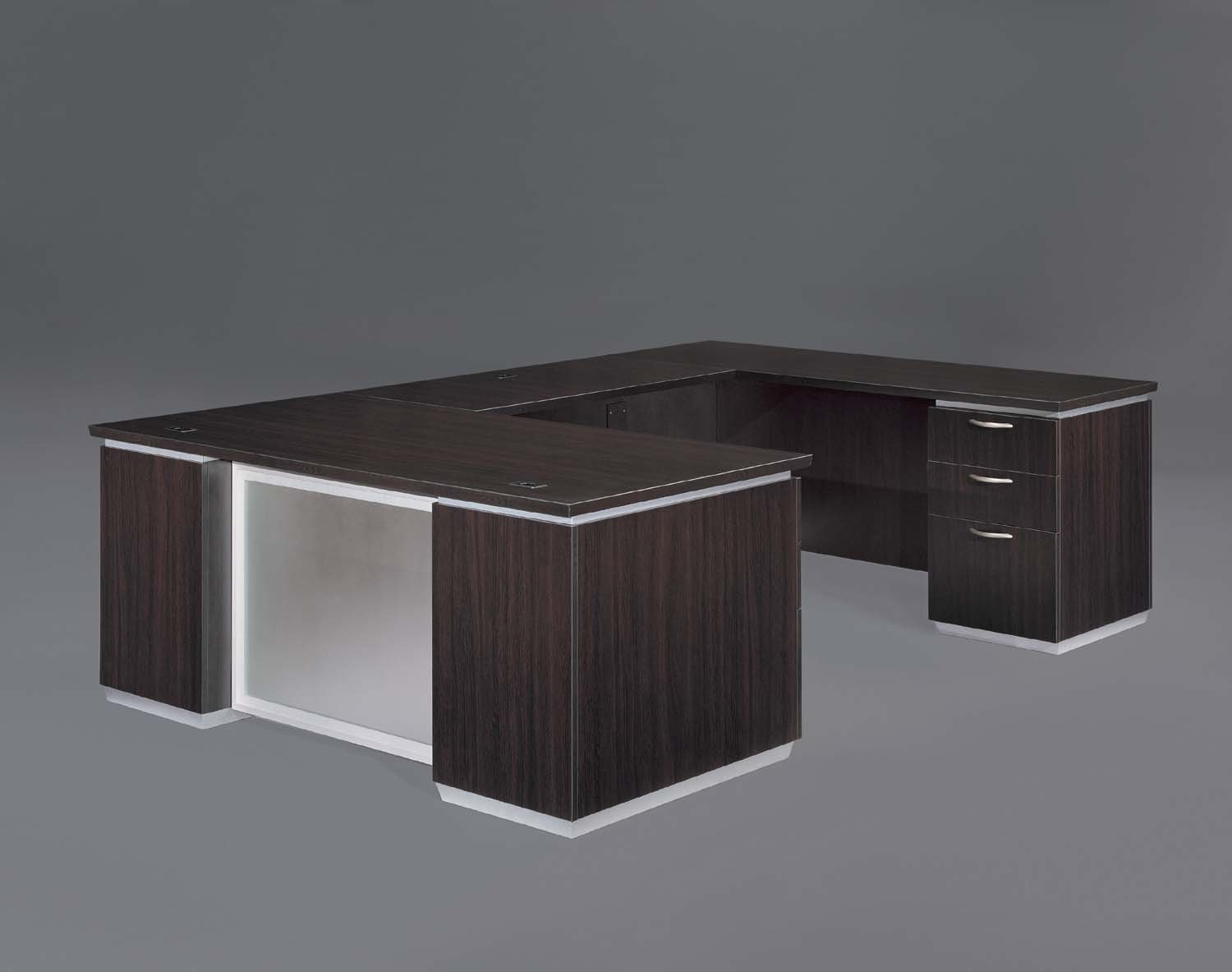 Flexsteel Pimlico  Right Executive U Desk with Frosted Glass Modesty Panel