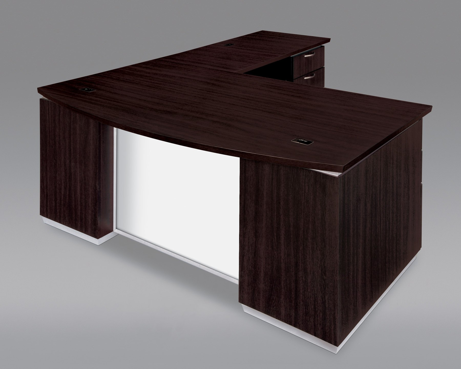 Flexsteel Pimlico  Right Executive Bow Front L Desk with White Glass Modesty Panel
