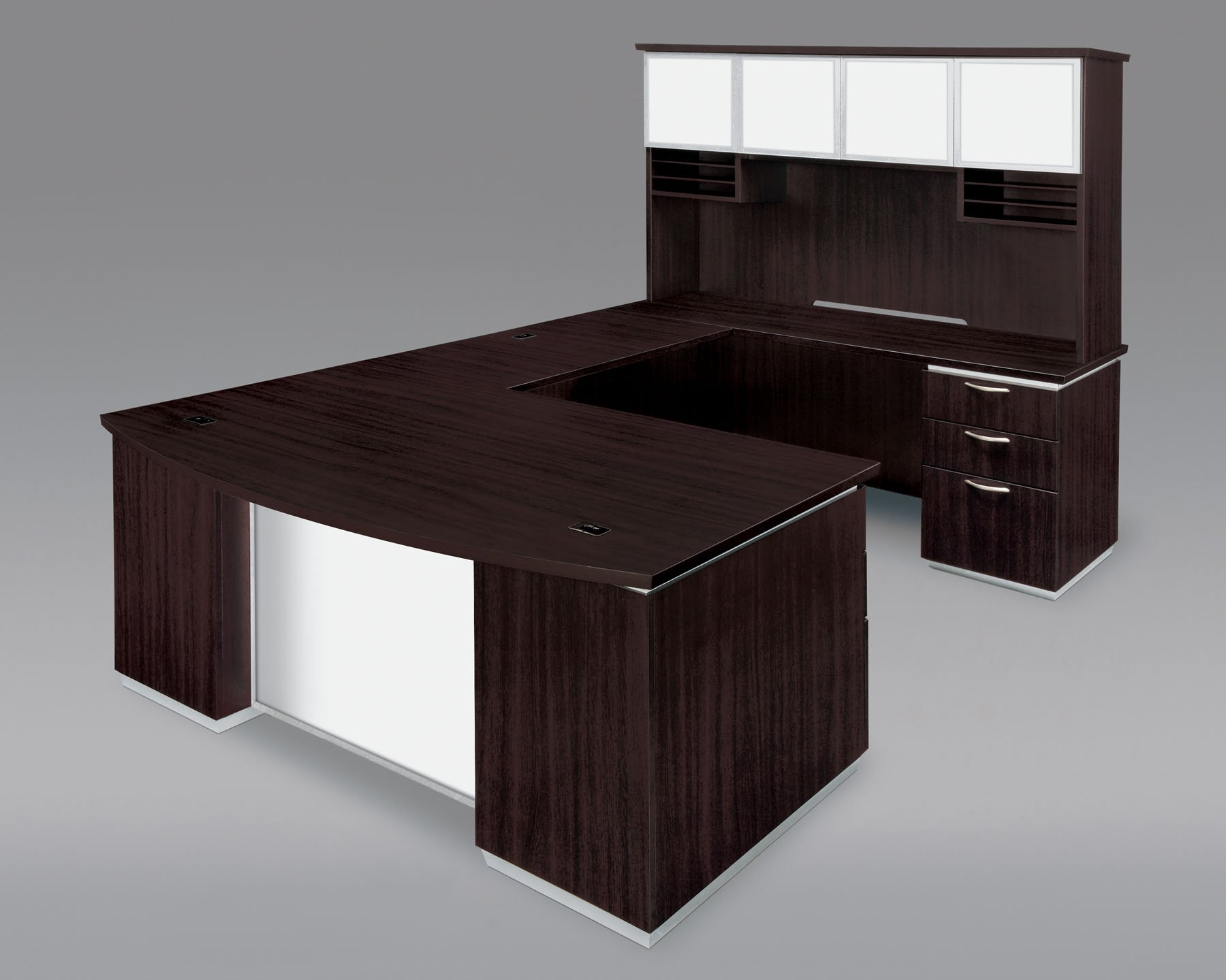 Flexsteel Pimlico  Right Executive Bow Front U Desk with White Glass Modesty Panel