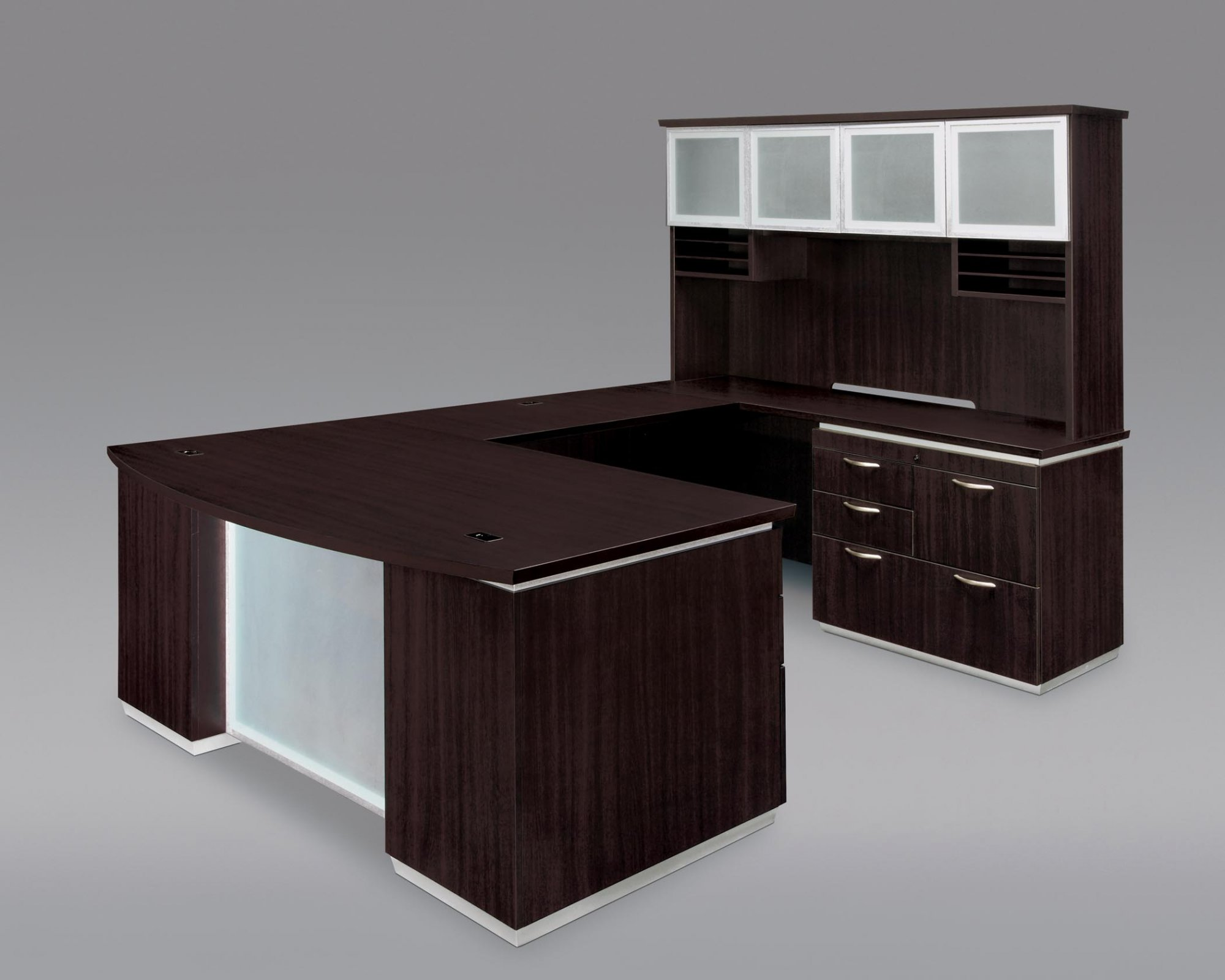 Pimlico  Right Personal File Bow Front U Desk with Frosted Glass Modesty Panel