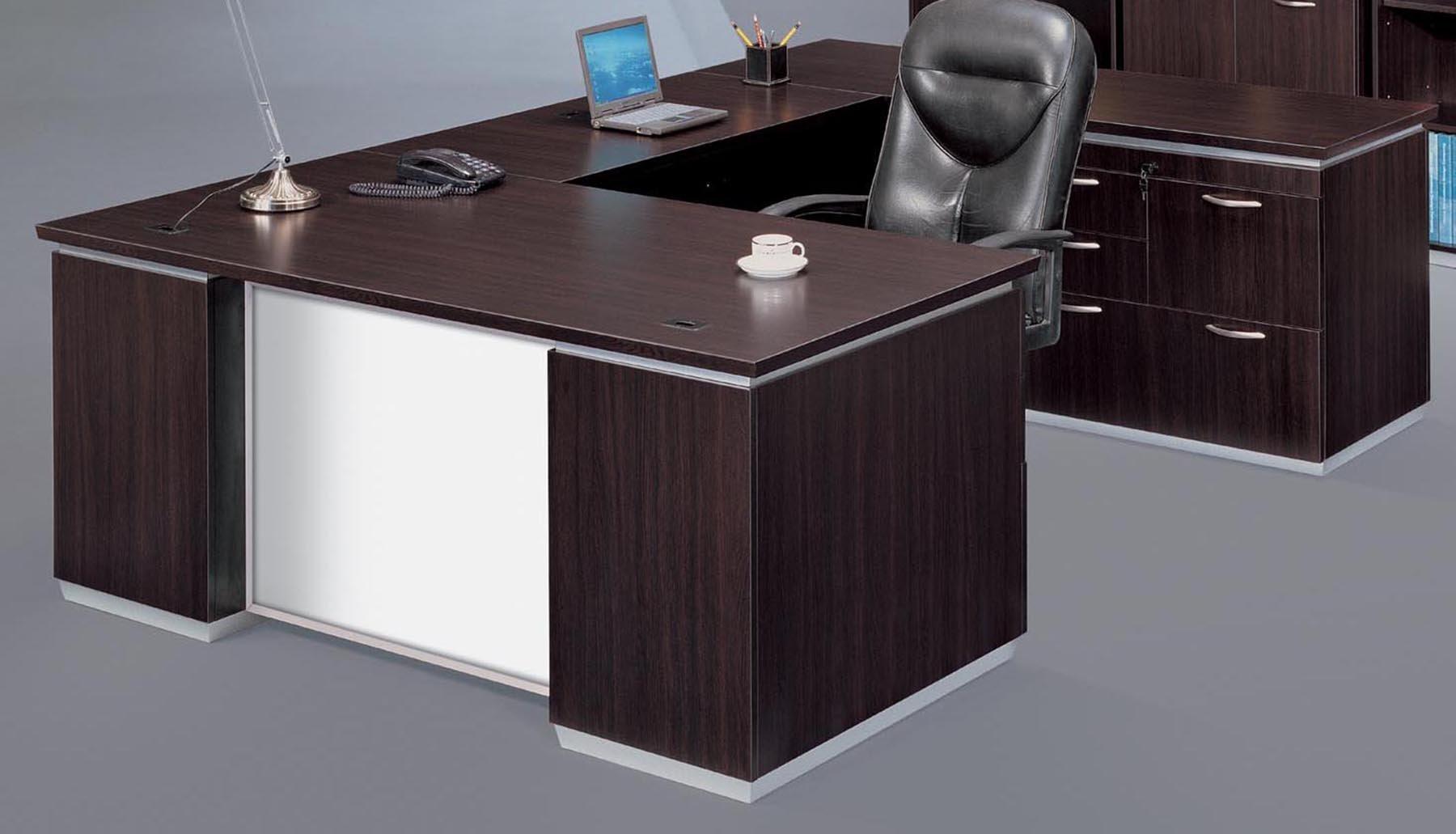 Flexsteel Pimlico  Right Personal File U Desk with White Glass Modesty Panel