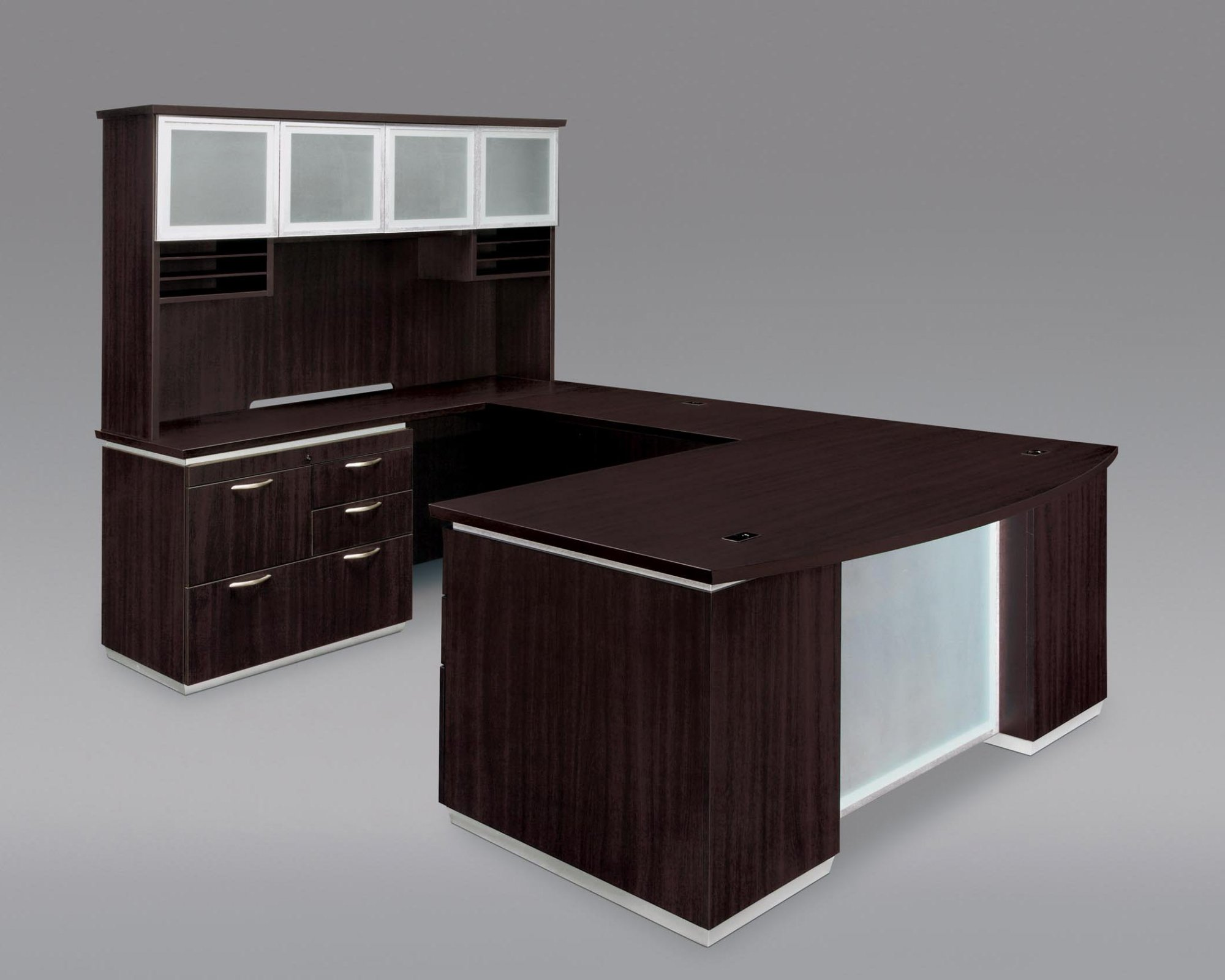 Pimlico  Left Personal File Bow Front U Desk with Frosted Glass Modesty Panel