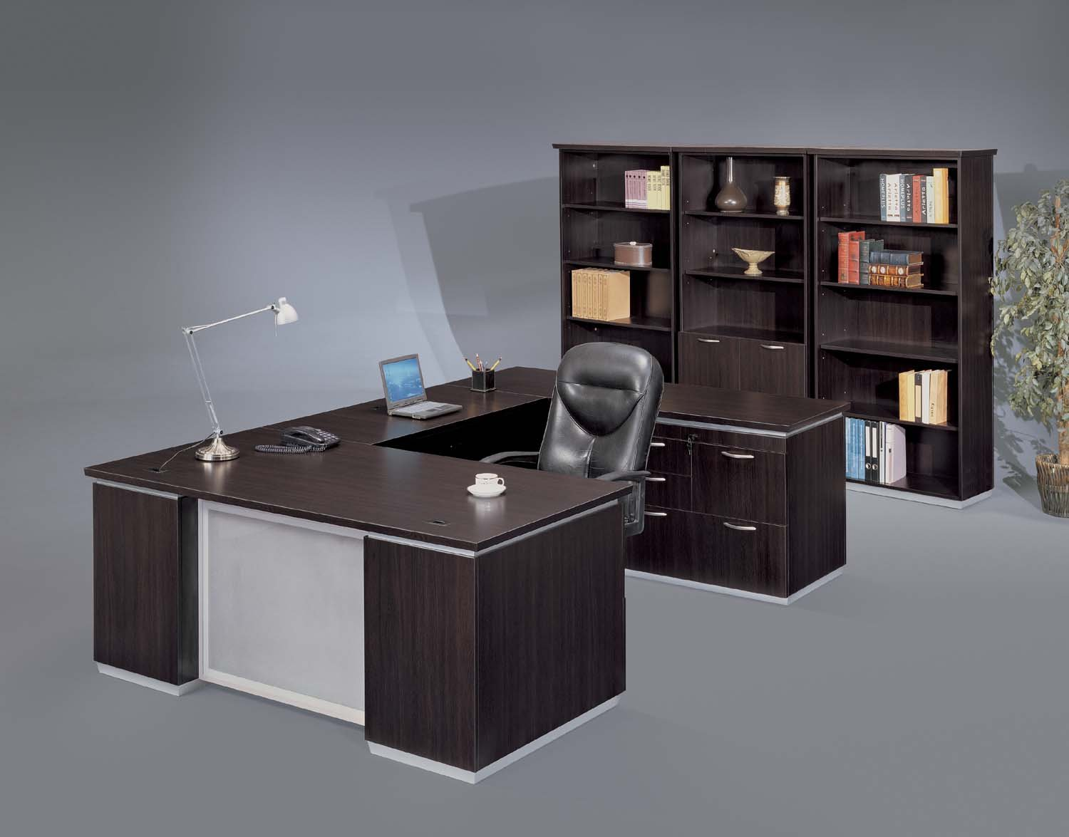Pimlico  Right Personal File U Desk with Frosted Glass Modesty Panel