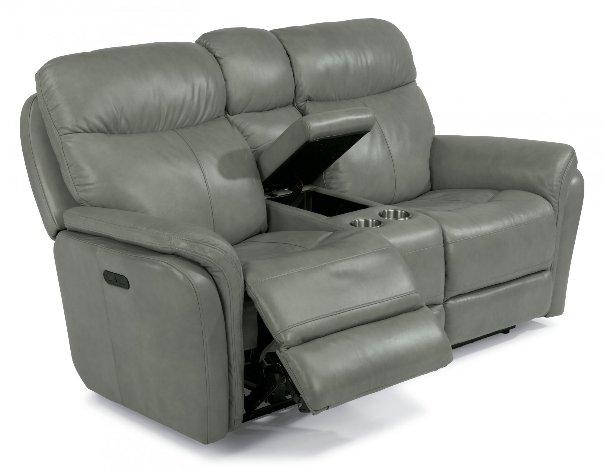 Flexsteel Zoey  Leather Power Reclining Loveseat with Console and Power Headrests