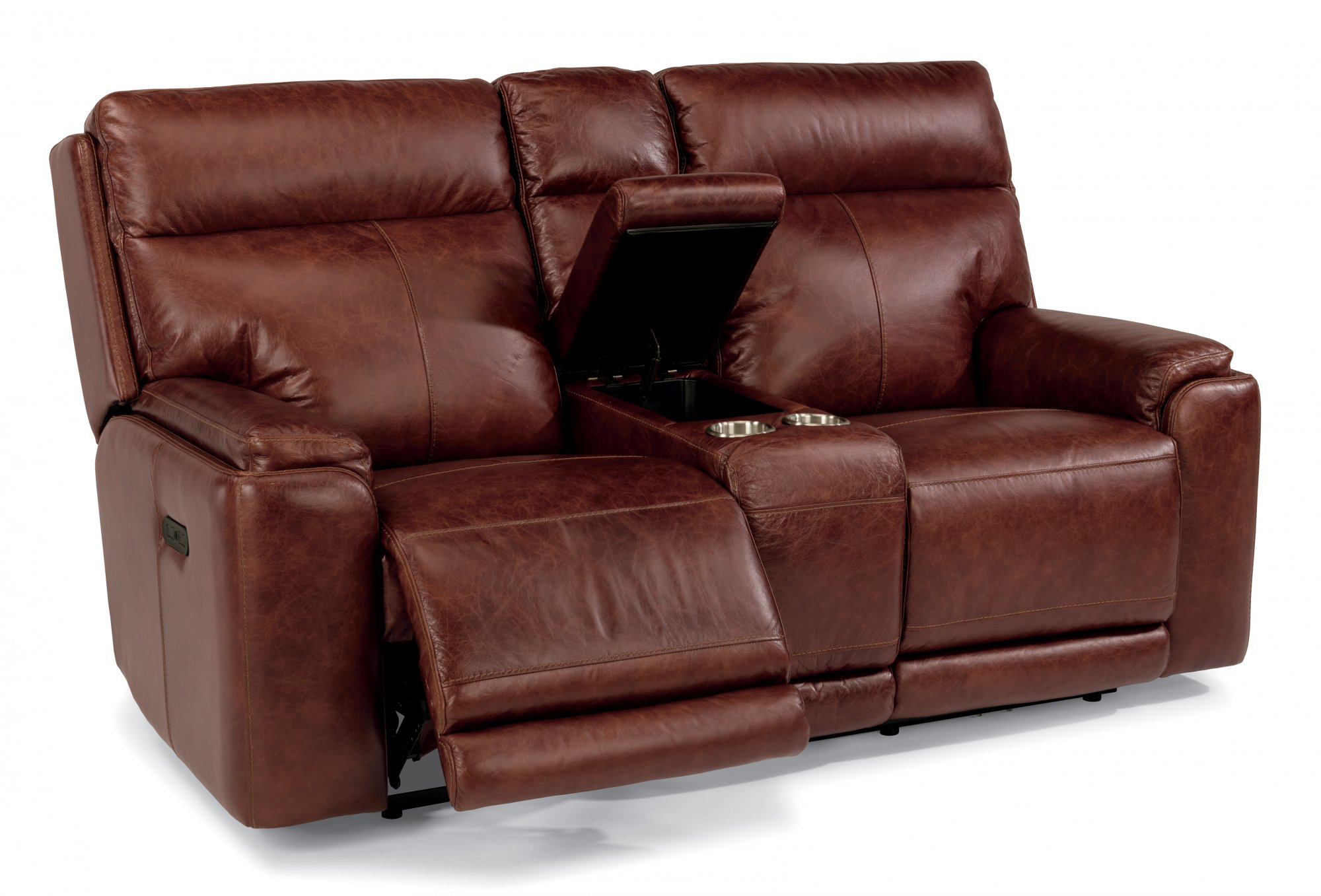 Flexsteel Sienna  Leather Power Reclining Loveseat with Console and Power Headrests