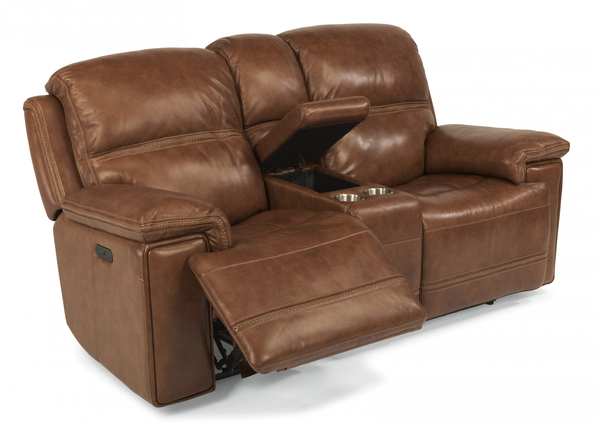 Flexsteel Fenwick  Leather Power Reclining Loveseat with Console and Power Headrests