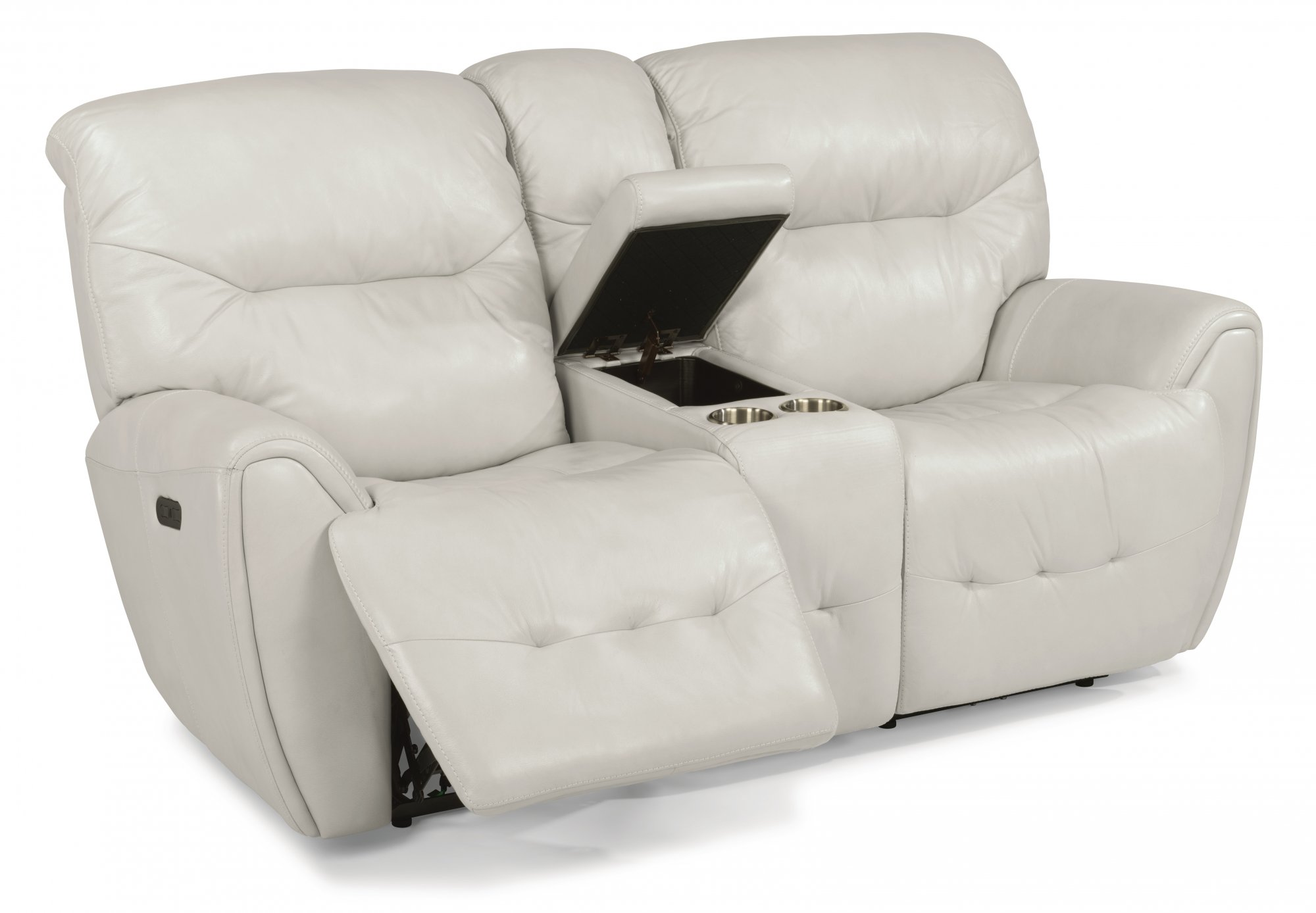 Flexsteel Blaise  Leather Power Reclining Loveseat with Console and Power Headrests