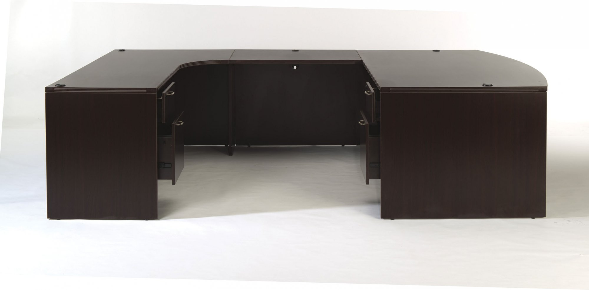 Flexsteel Fairplex  Left Bow-Front U Desk with Corner Credenza and 3/4 Pedestals