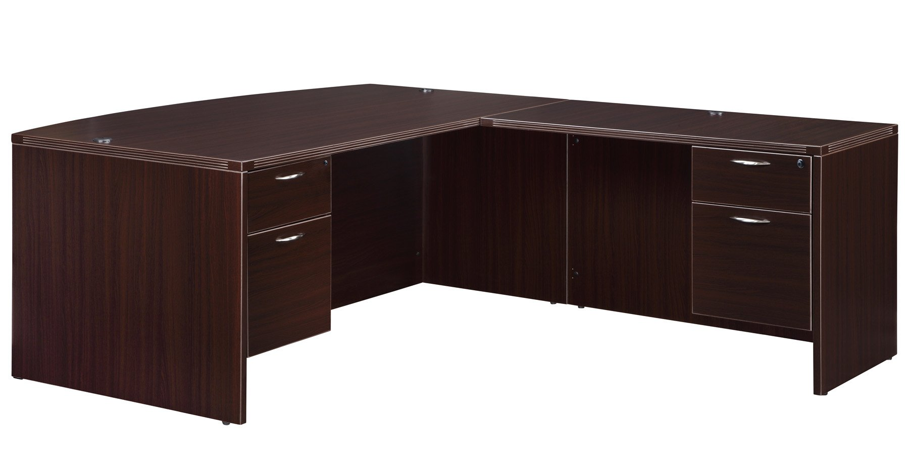 Flexsteel Fairplex  Right/Left Executive Bow-Front L Desk with 3/4 Pedestal