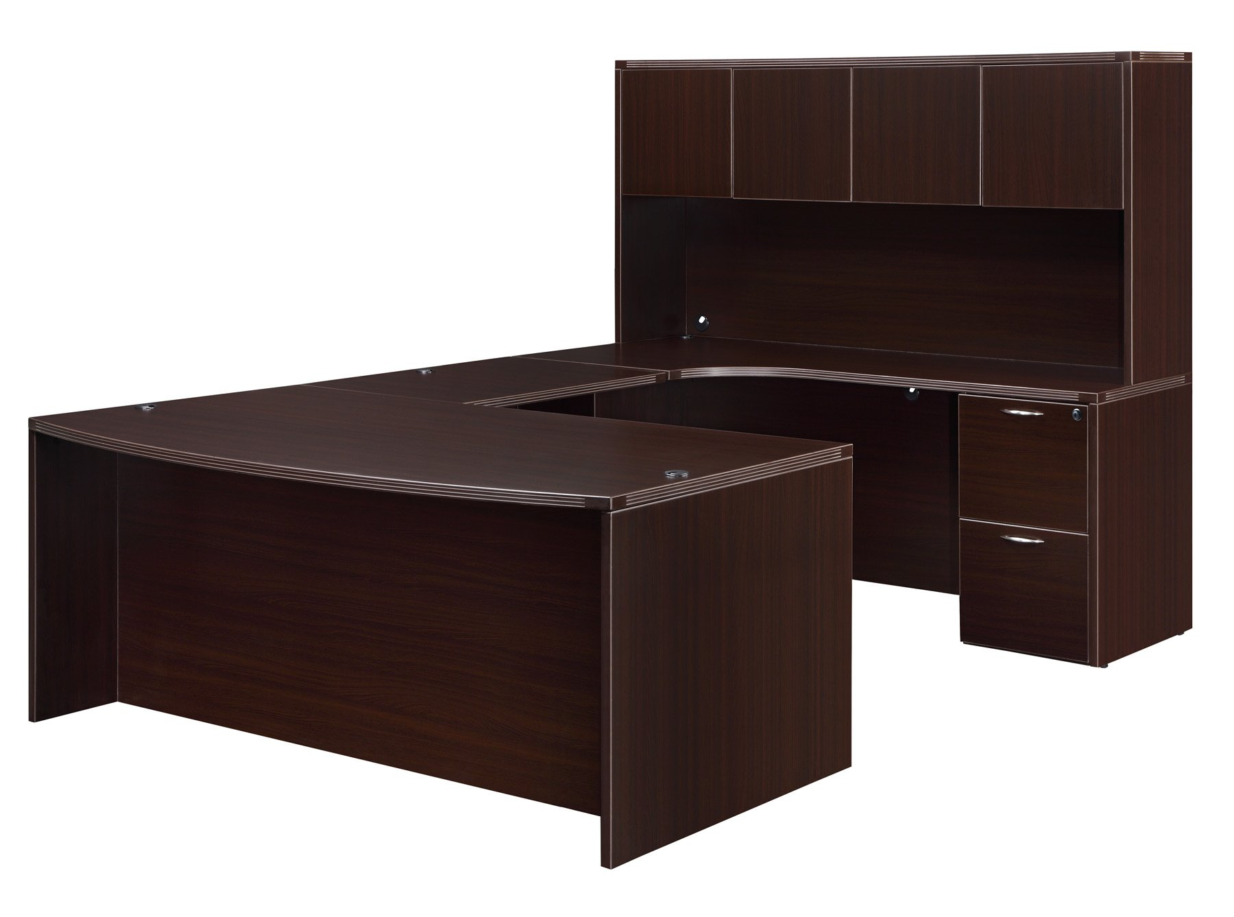 Flexsteel Fairplex  Right Bow-Front U Desk with Corner Credenza
