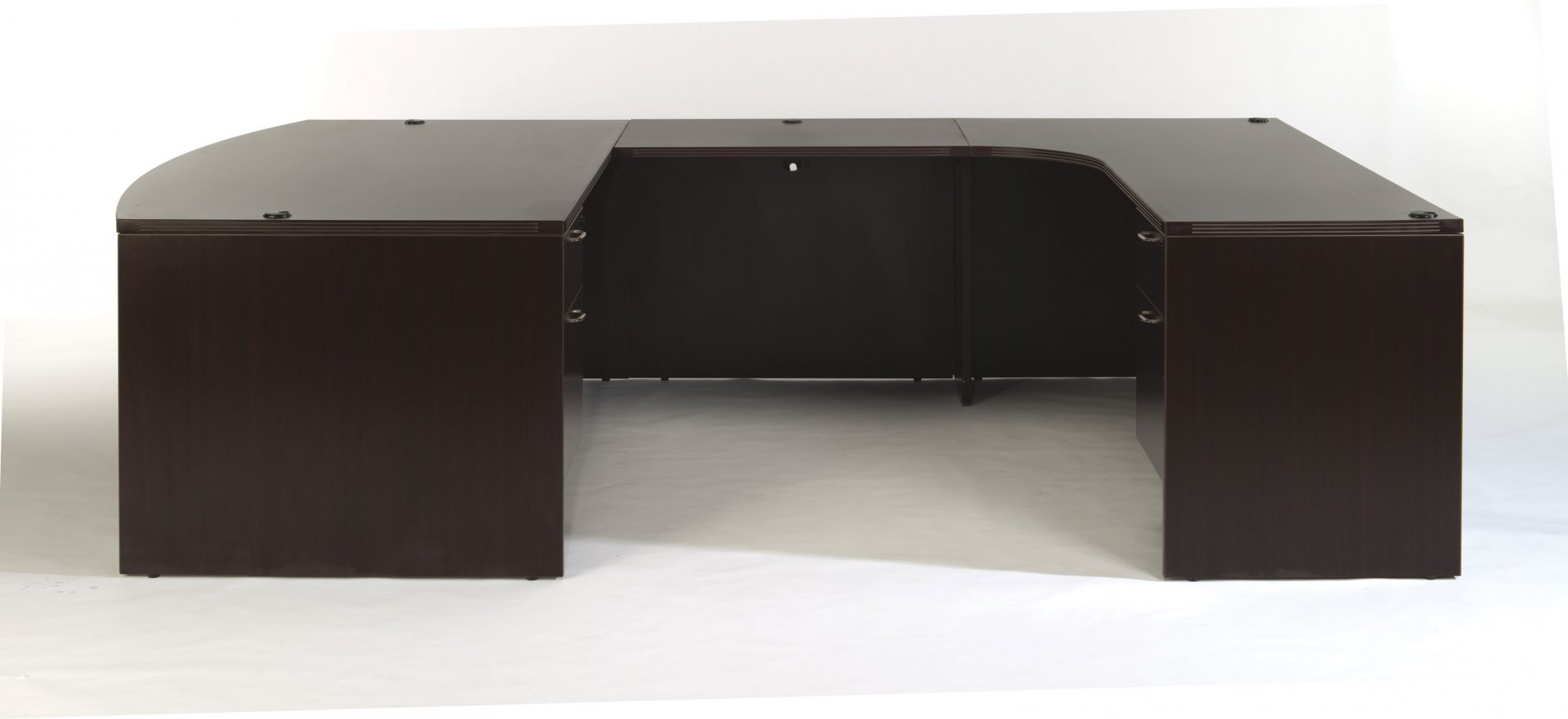 Flexsteel Fairplex  Right Bow-Front U Desk with Corner Credenza and 3/4 Pedestals