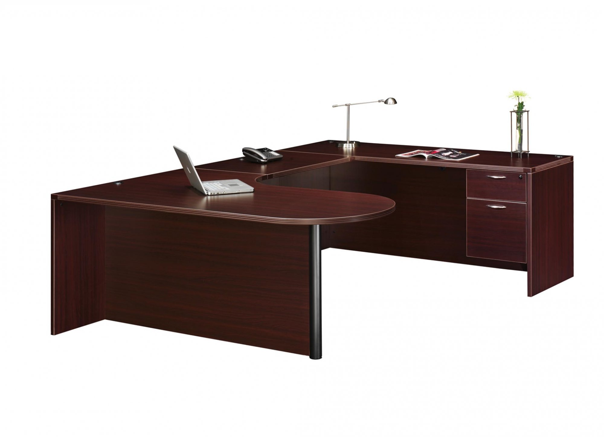 Flexsteel Fairplex  Right Executive Corner Peninsula U Desk with 3/4 Pedestal