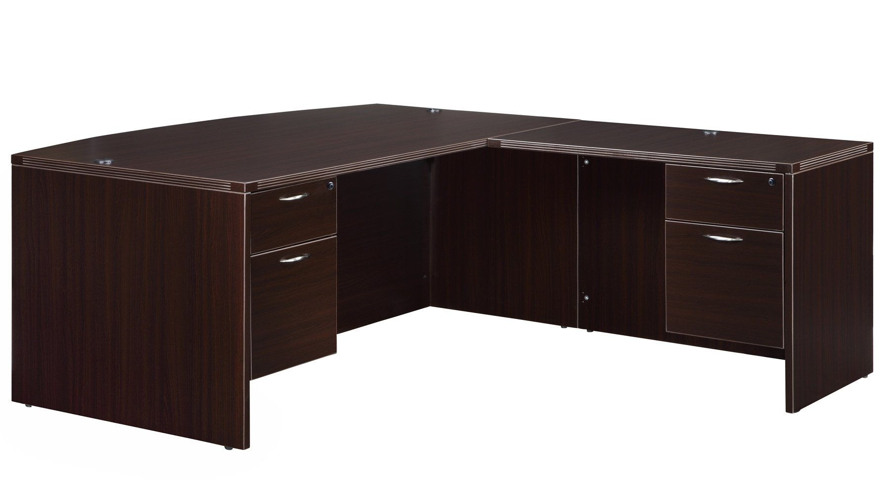 Flexsteel Fairplex  Right/Left Bow Front L Desk with 3/4 Pedestal