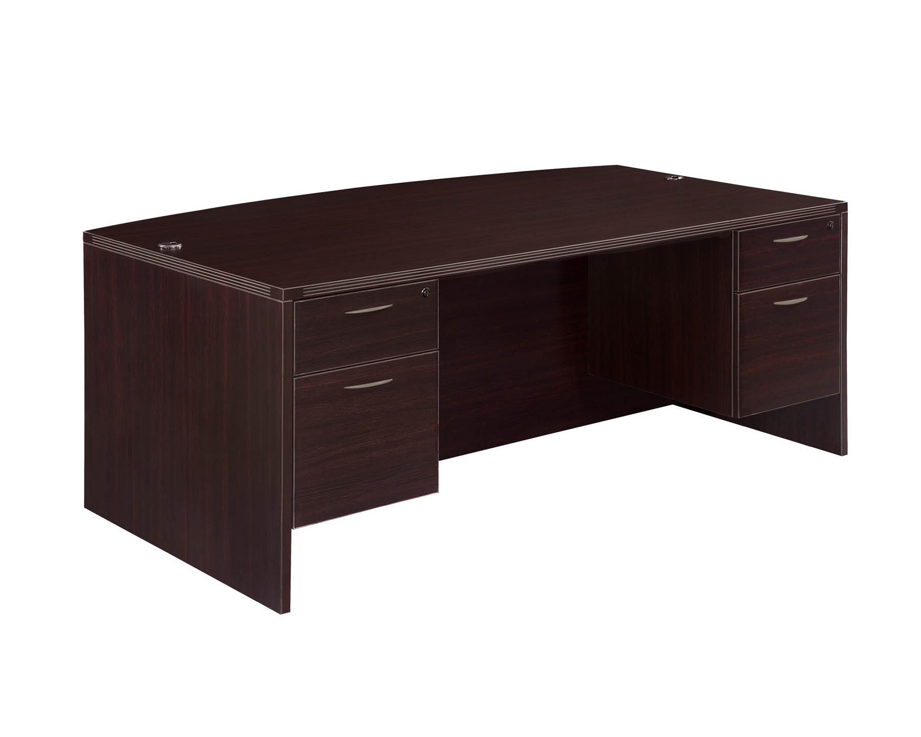 Flexsteel Fairplex  Executive Bow Front Desk with 3/4 Pedestals