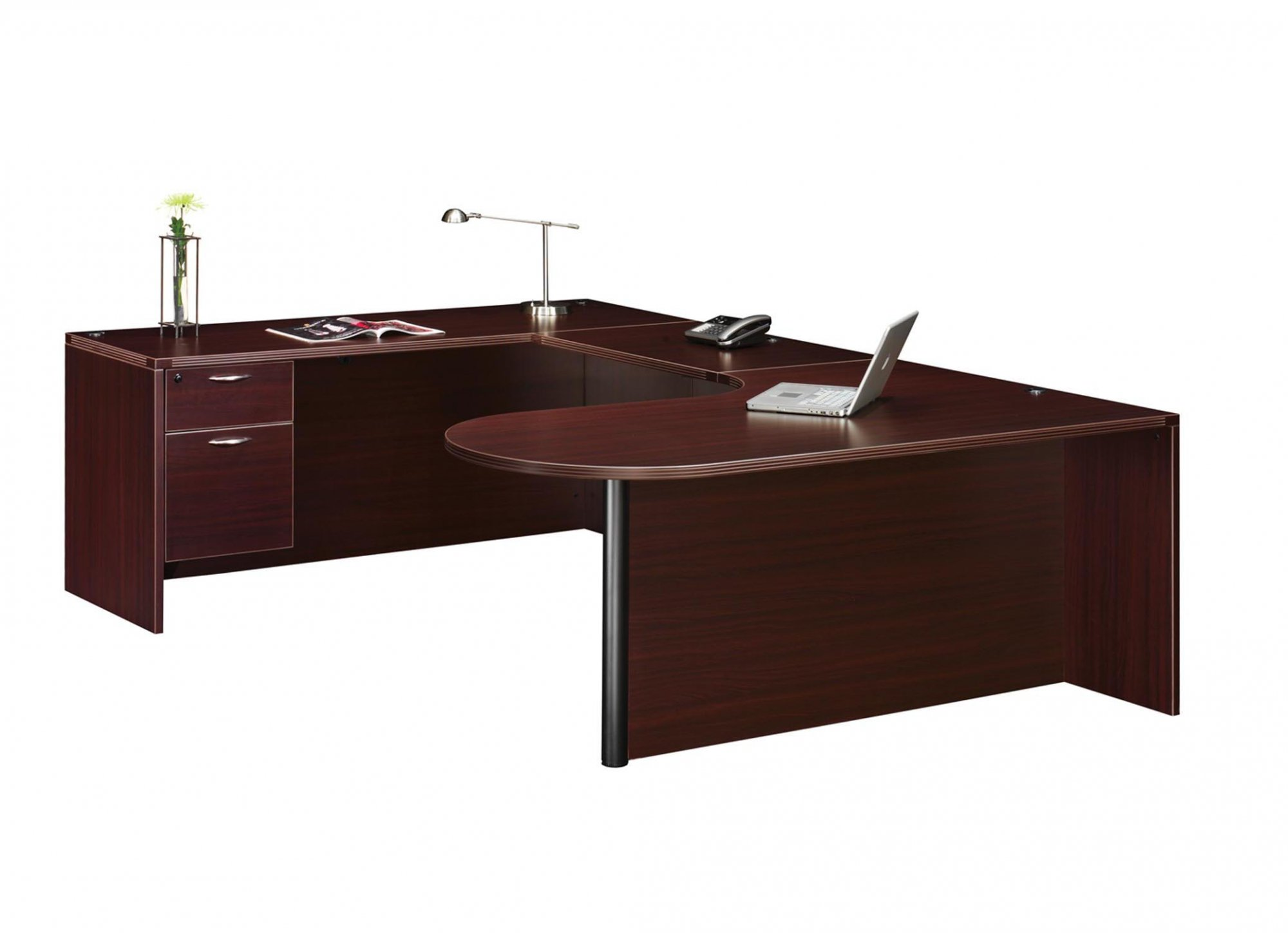 Flexsteel Fairplex  Left Executive Corner Peninsula U Desk with 3/4 Pedestals