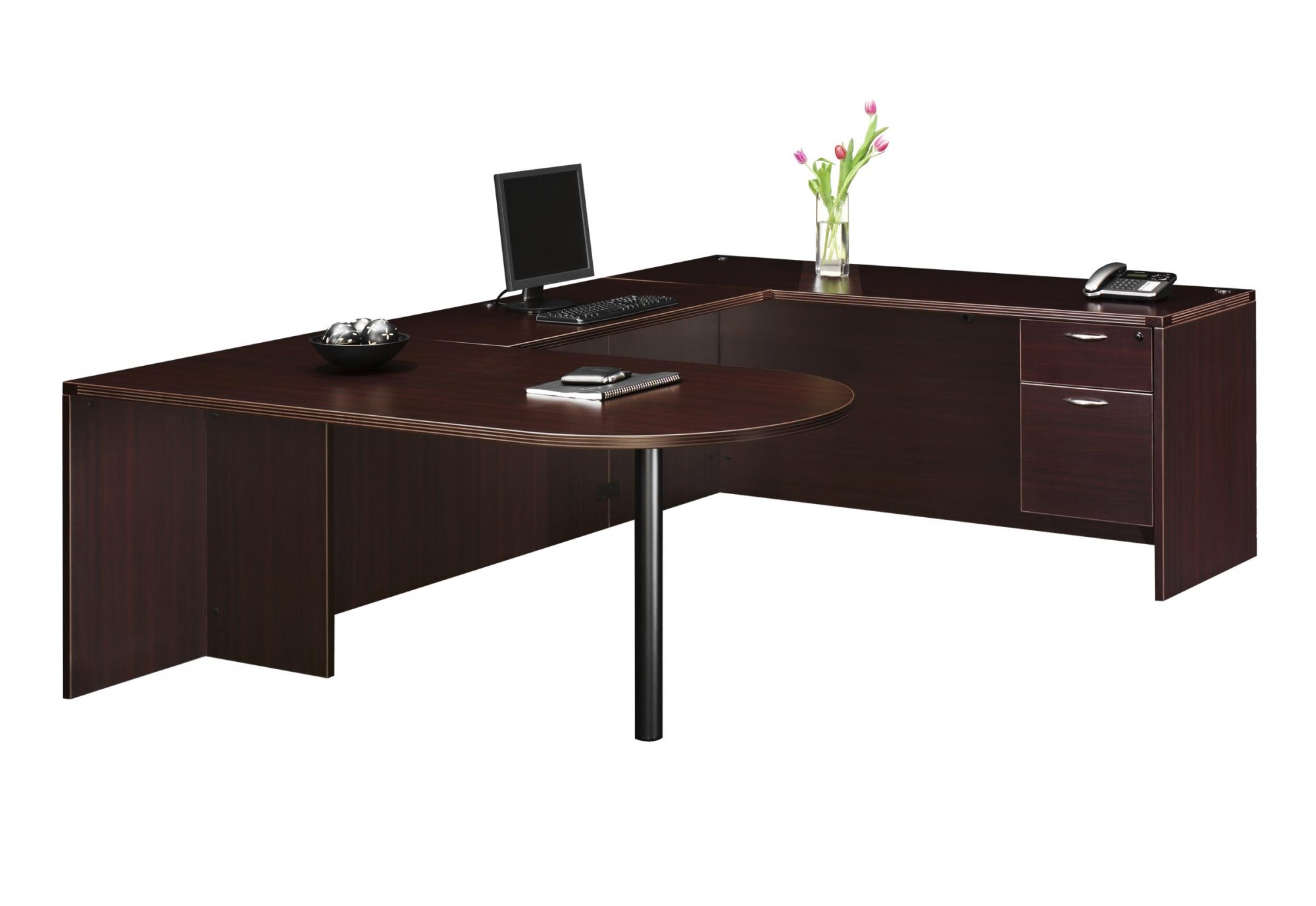 Flexsteel Fairplex  Right/Left Executive Bullet U Desk with 3/4 Pedestals