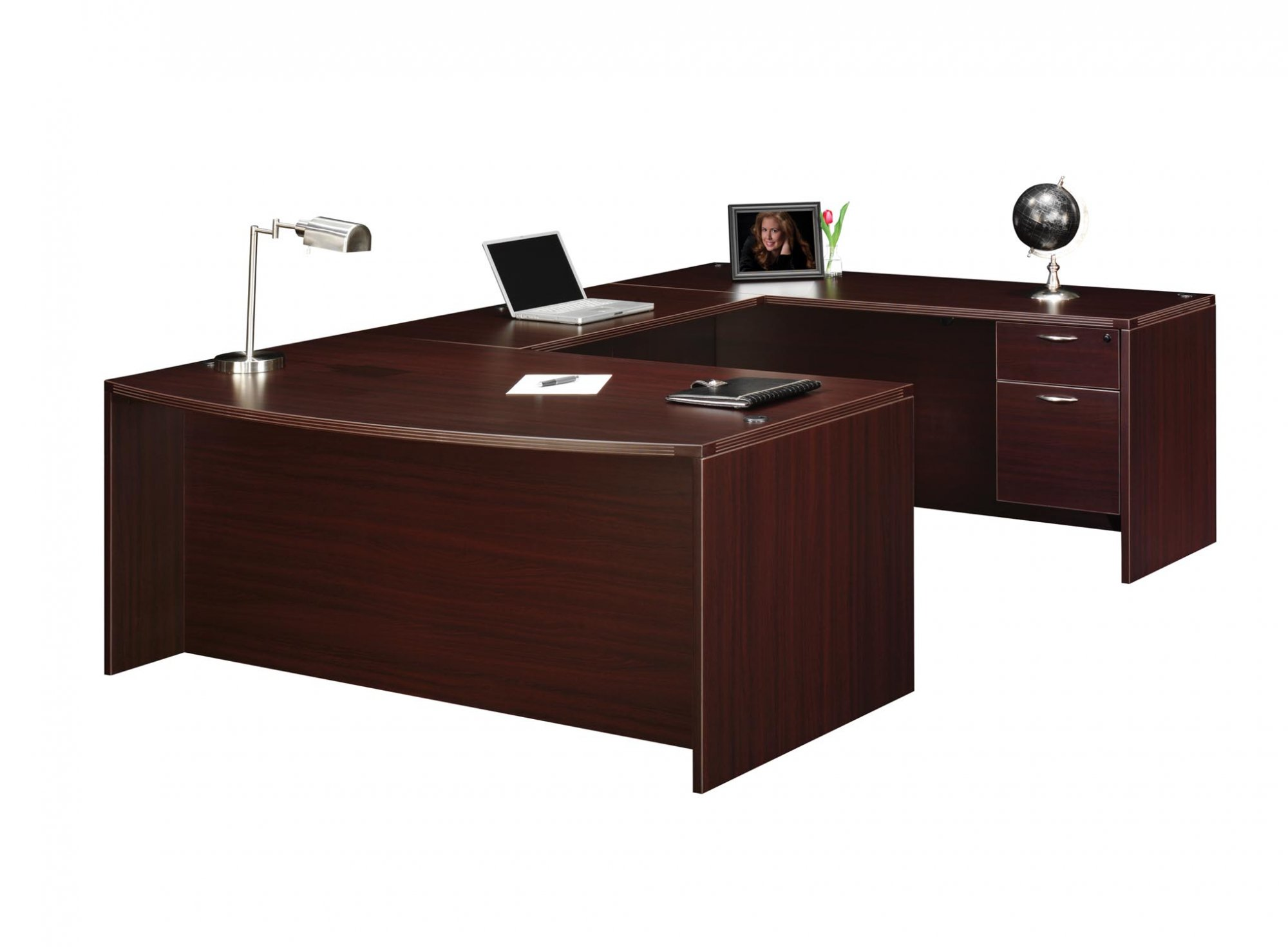 Flexsteel Fairplex  Right/Left Executive Bow-Front U Desk with 3/4 Pedestals