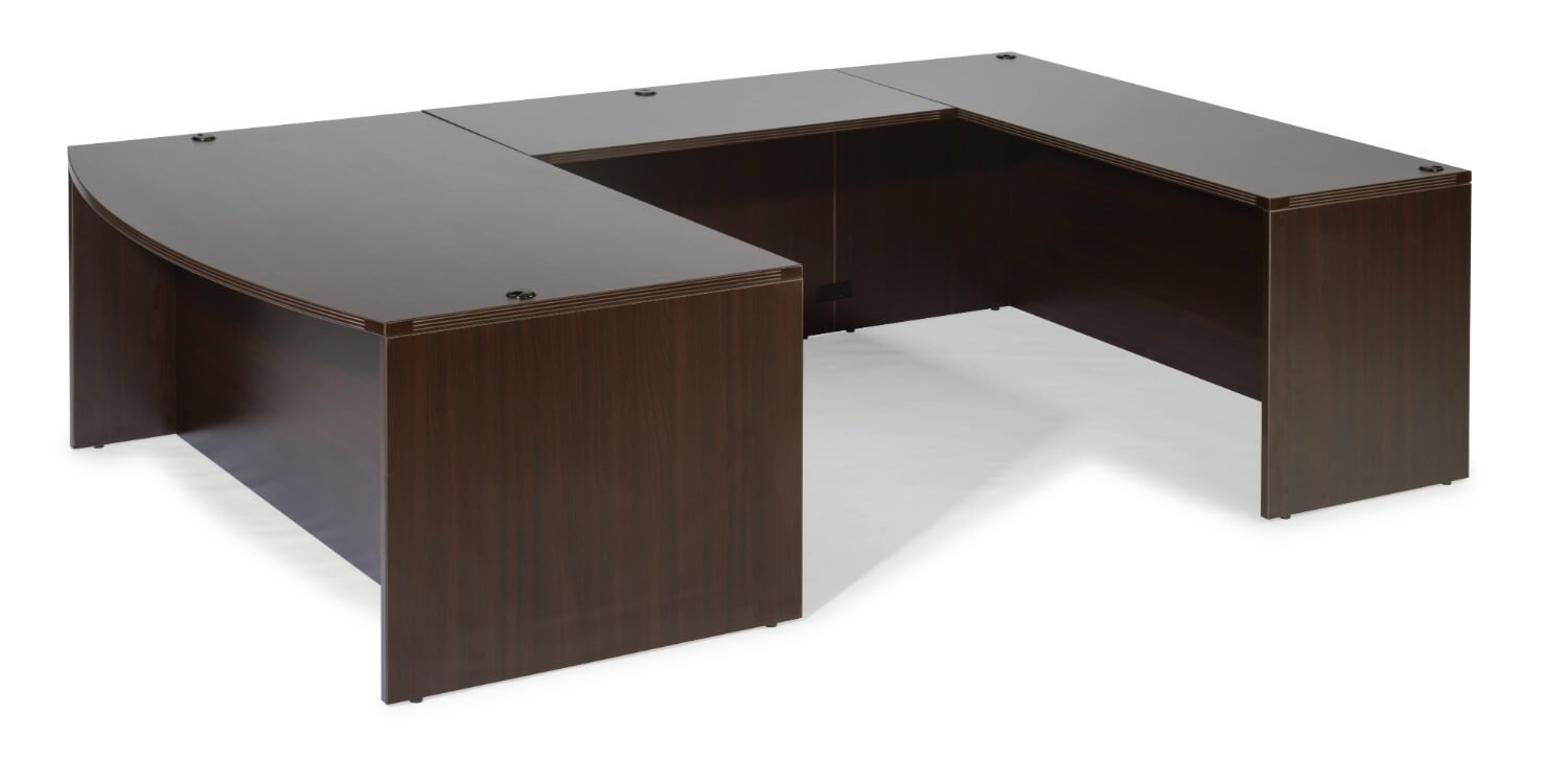 Flexsteel Fairplex  Right/Left Executive Bow-Front Lateral File U Desk