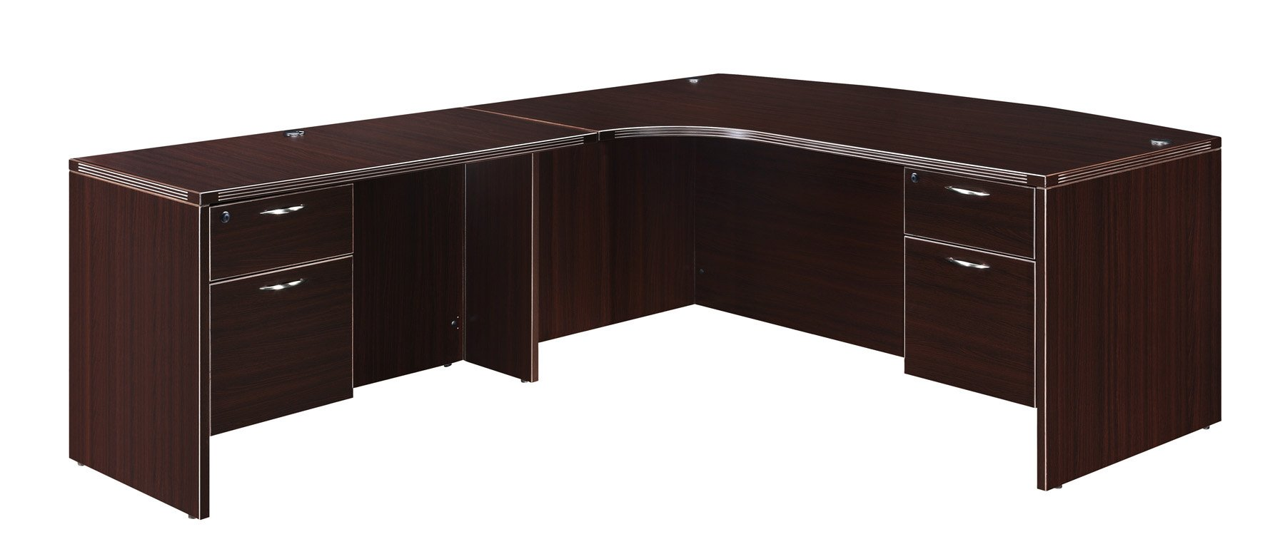 Flexsteel Fairplex  Left Executive Corner Bow-Front L Desk with 3/4 Pedestals