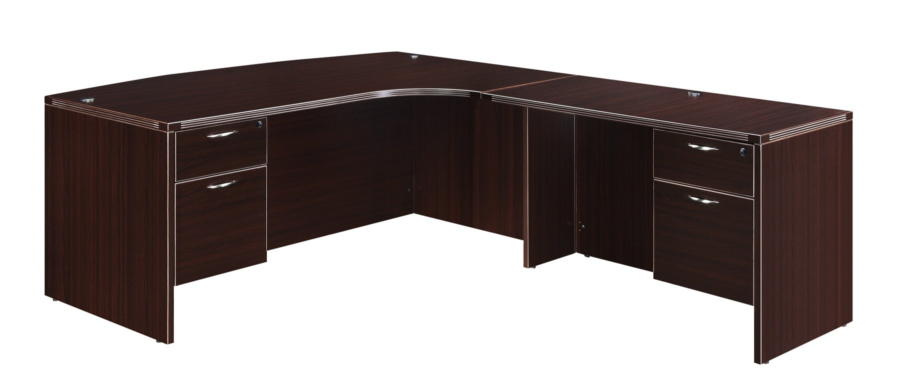 Flexsteel Fairplex  Right Executive Corner Bow-Front L Desk with 3/4 Pedestals
