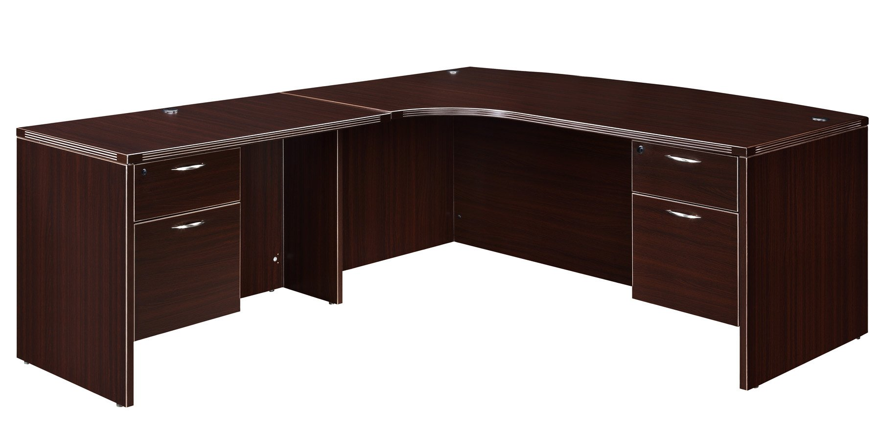 Flexsteel Fairplex  Left Corner Bow-Front L Desk with 3/4 Pedestals