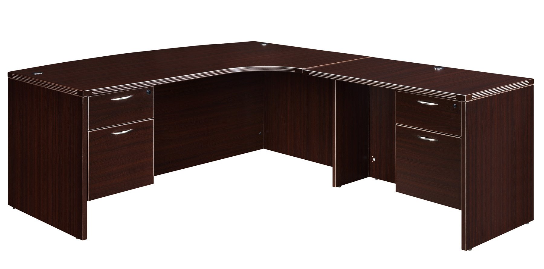 Flexsteel Fairplex  Right Corner Bow-Front L Desk with 3/4 Pedestals
