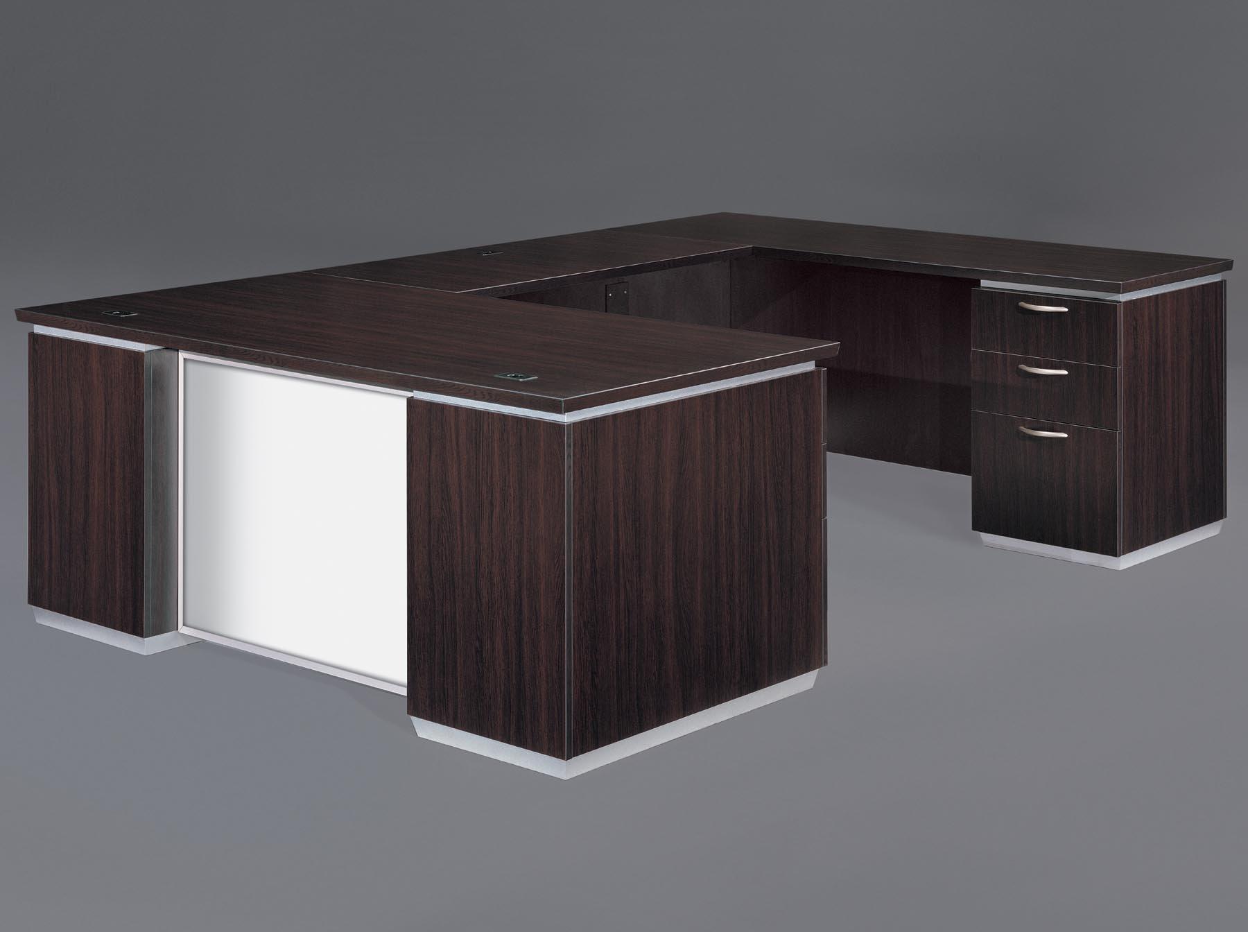 Flexsteel Pimlico  Right Executive U Desk with White Glass Modesty Panel