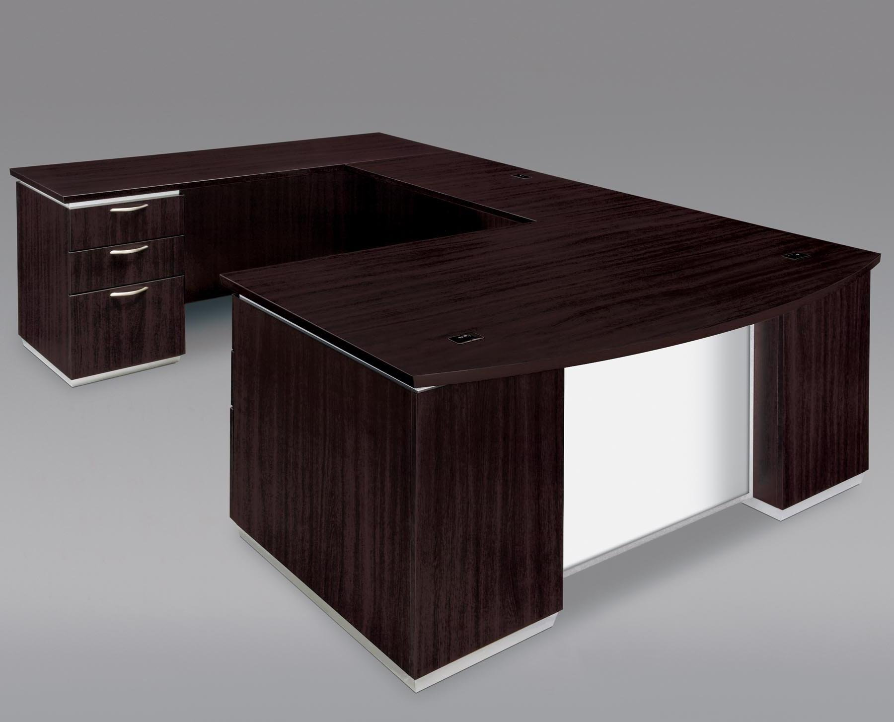 Model: 7020-58BWG | Flexsteel Pimlico  Left Executive Bow Front U Desk with White Glass Modesty Panel