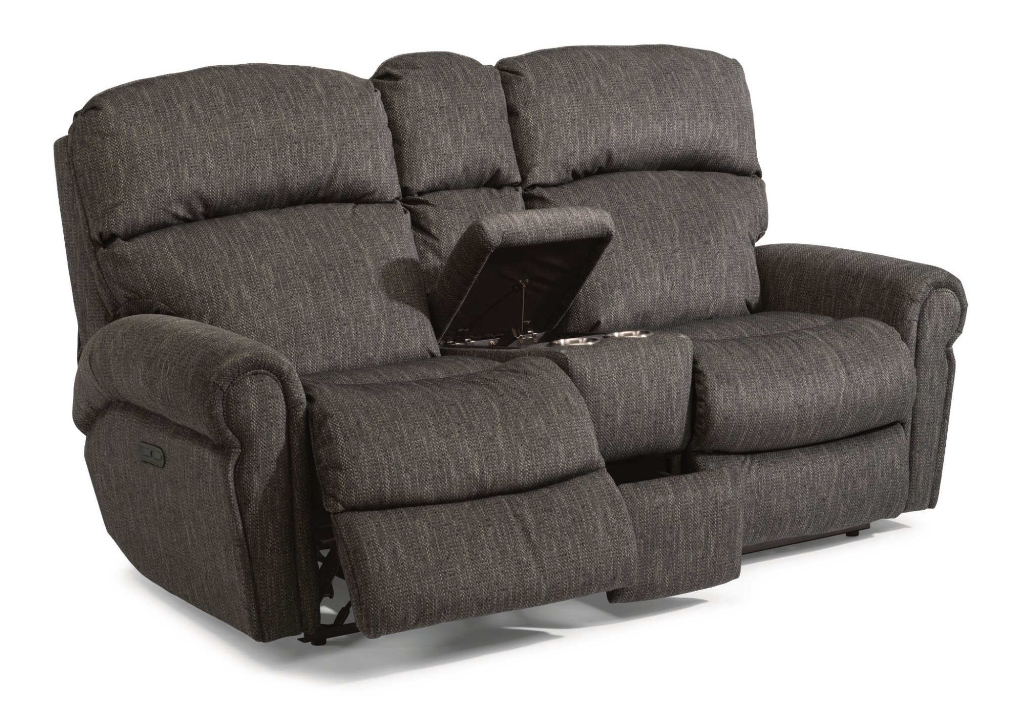 Flexsteel Langston  Fabric Power Reclining Loveseat with Console and Power Headrests