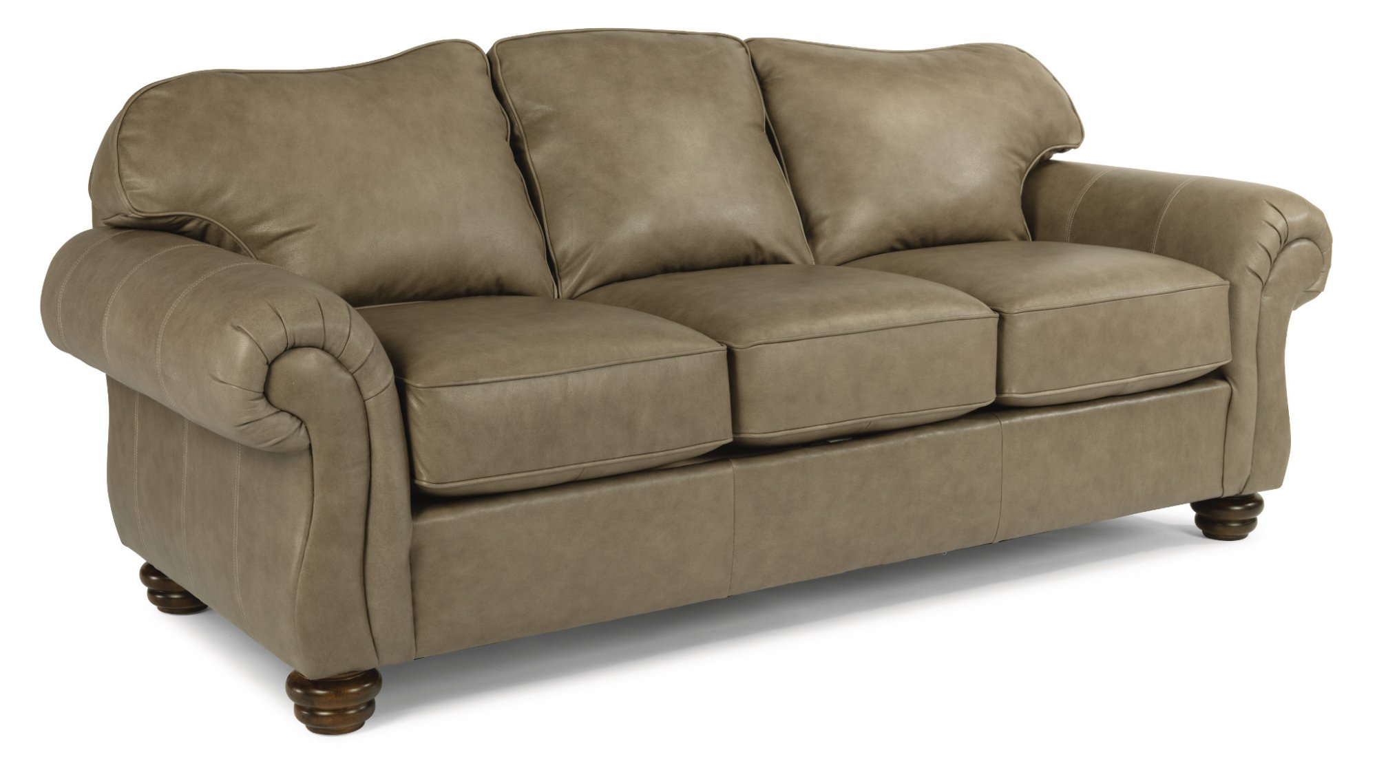 Flexsteel - 3646-31 - Bexley Leather Sofa without Nailhead ...