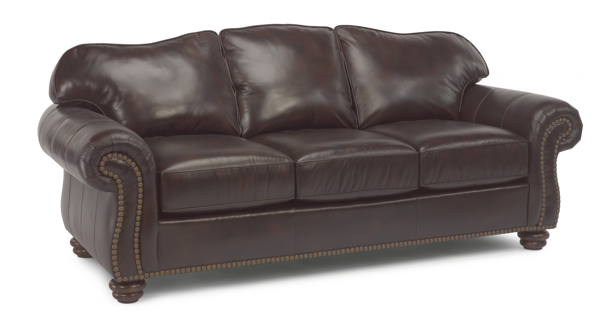Admirable Flexsteel 3648 31 Bexley Leather Sofa With Nailhead Trim Theyellowbook Wood Chair Design Ideas Theyellowbookinfo