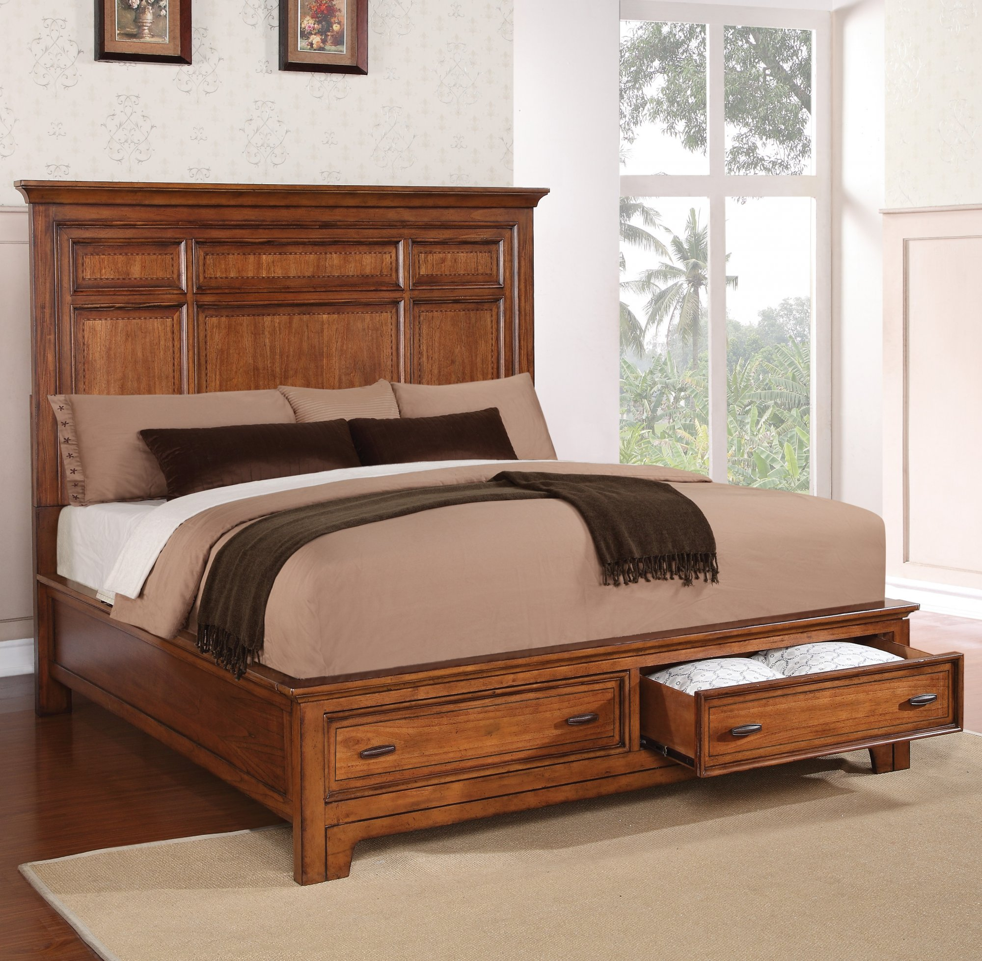 Model: W1572-90QS | Flexsteel River Valley  Queen Panel Bed with Storage