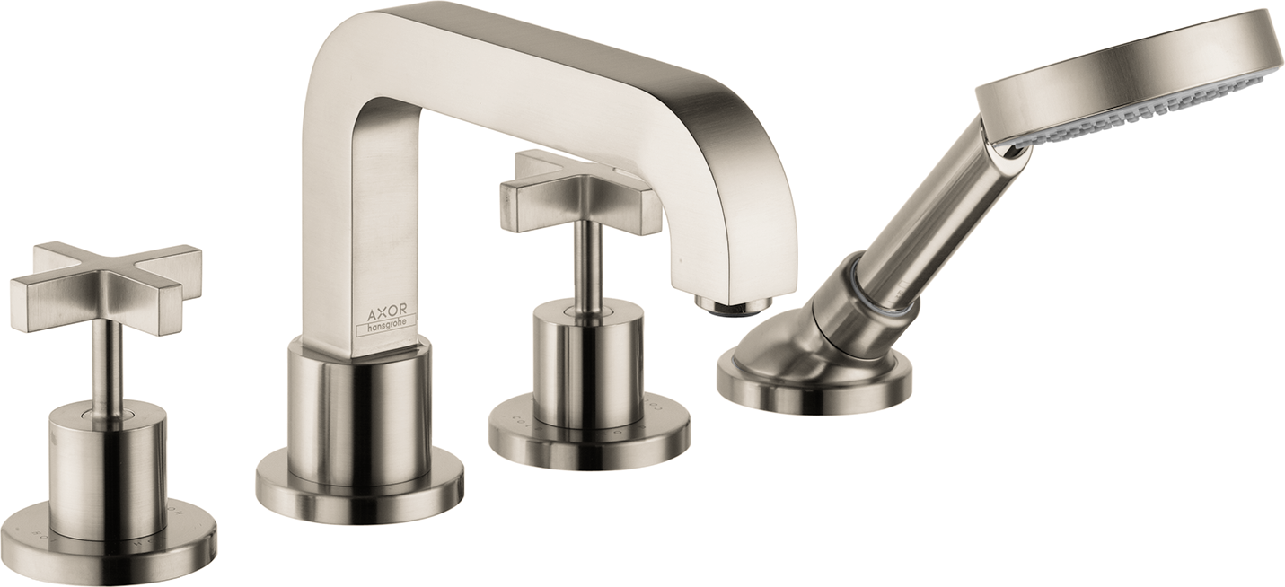 Axor AXOR Citterio 4-Hole Roman Tub Set Trim with Cross Handles with 1.75 GPM Handshower