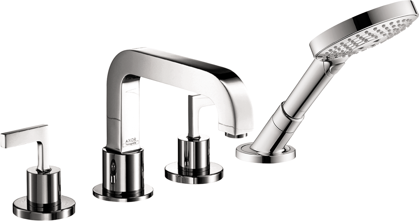 Axor AXOR Citterio 4-Hole Roman Tub Set Trim with Lever Handles with 1.75 GPM Handshower