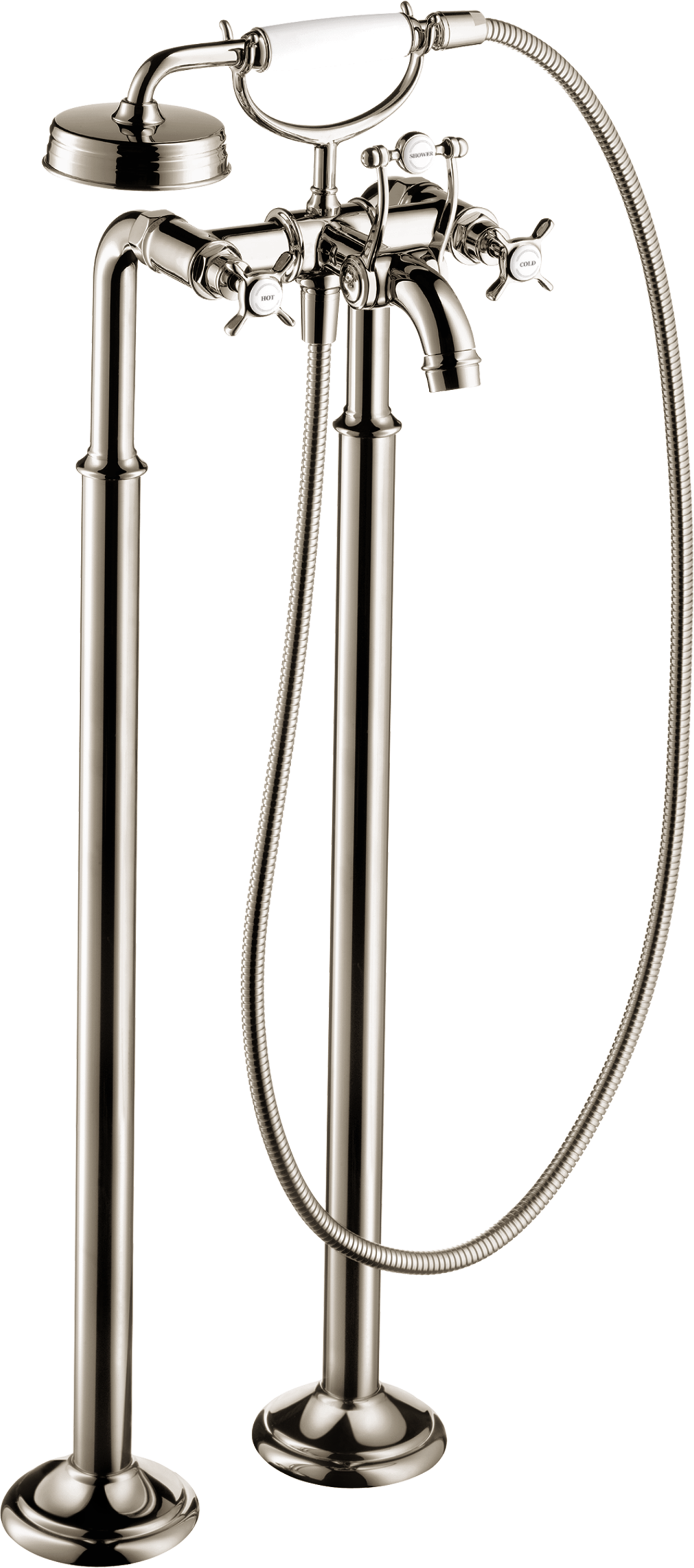 Axor AXOR Montreux Freestanding 2-Handle Tub Filler Trim with Cross Handles with 2.0 GPM Handshower