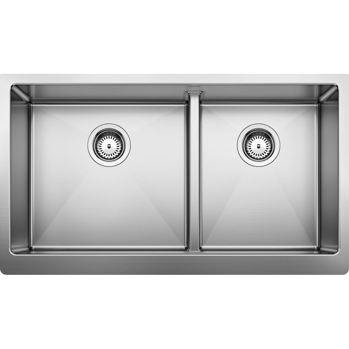 "Blanco Quatrus 33"" Farmhouse Double Basin Stainless Steel Kitchen Sink"