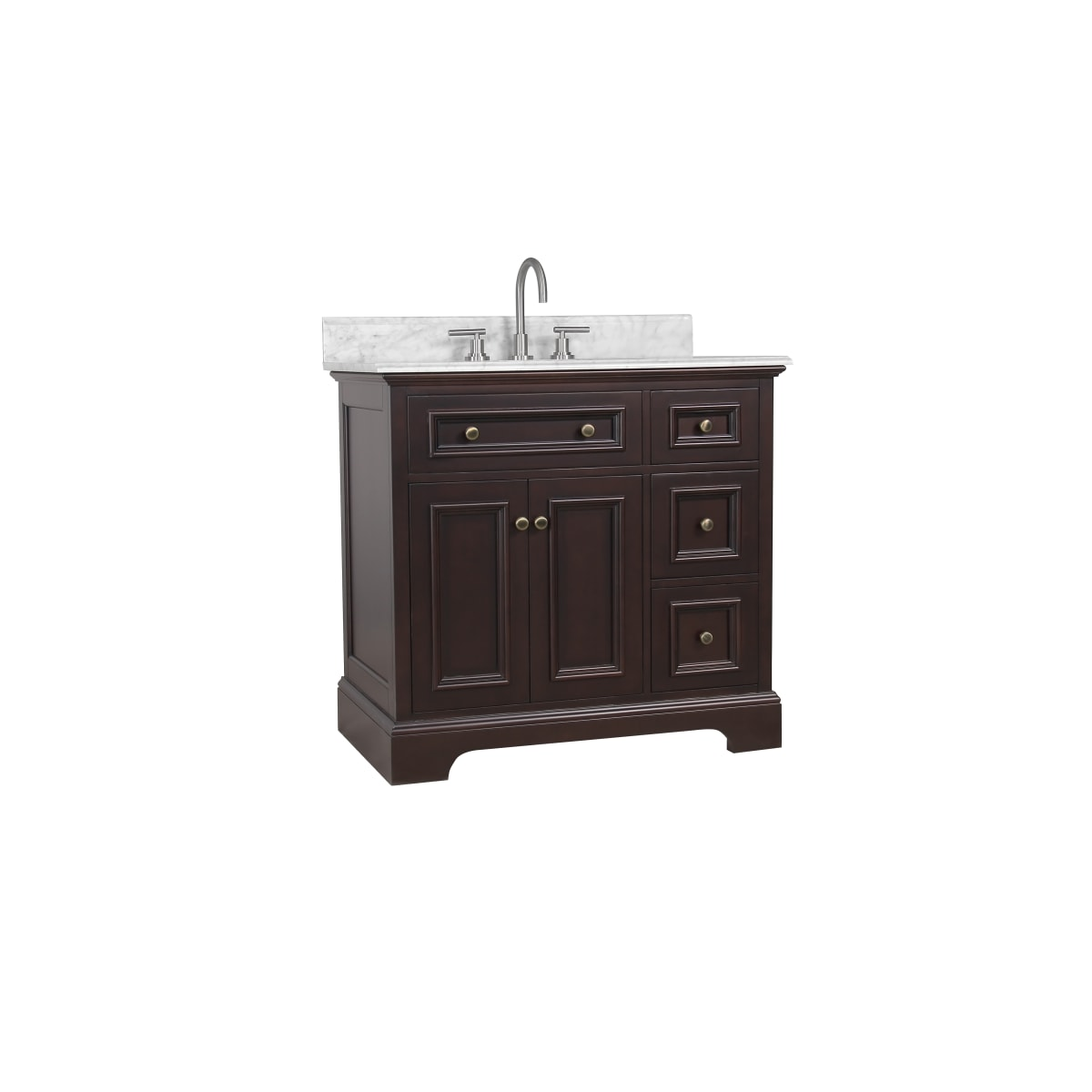 "Jacuzzi Salone 36"" Free Standing Single Basin Vanity Set with Wood Cabinet and Marble Vanity Top"