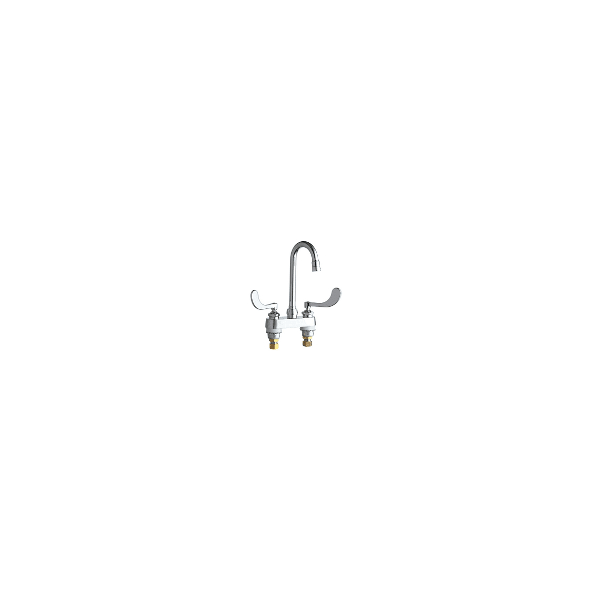 "Chicago Faucets Commercial Grade Centerset Bathroom Faucet with Wrist Blade Handles - 4"" Faucet Centers"