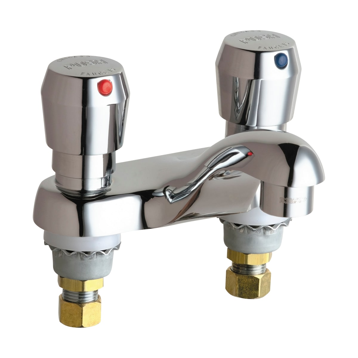 "Chicago Faucets Centerset Bathroom Faucet with 4"" Faucet Centers and Push Button Handles"