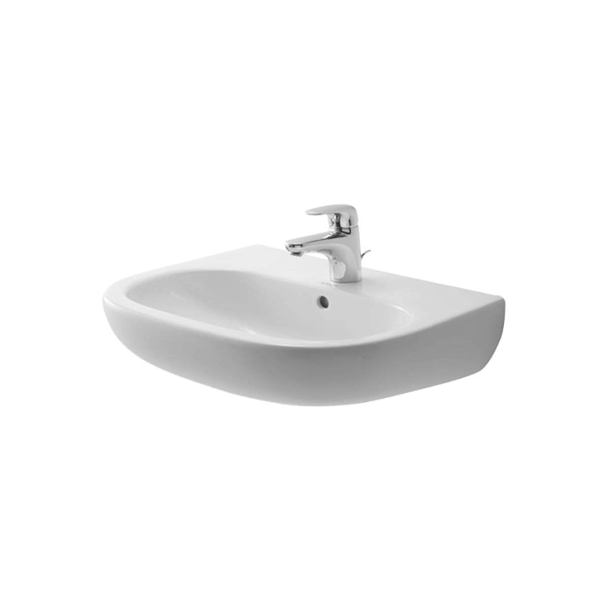 Duravit 23105500302 D Code 21 5 8 Ceramic Bathroom Sink For Wall Mounted Or Pedestal Installations With Widespread Faucet Holes And Overflow 23105500302 Snyder Diamond Kitchen Bath