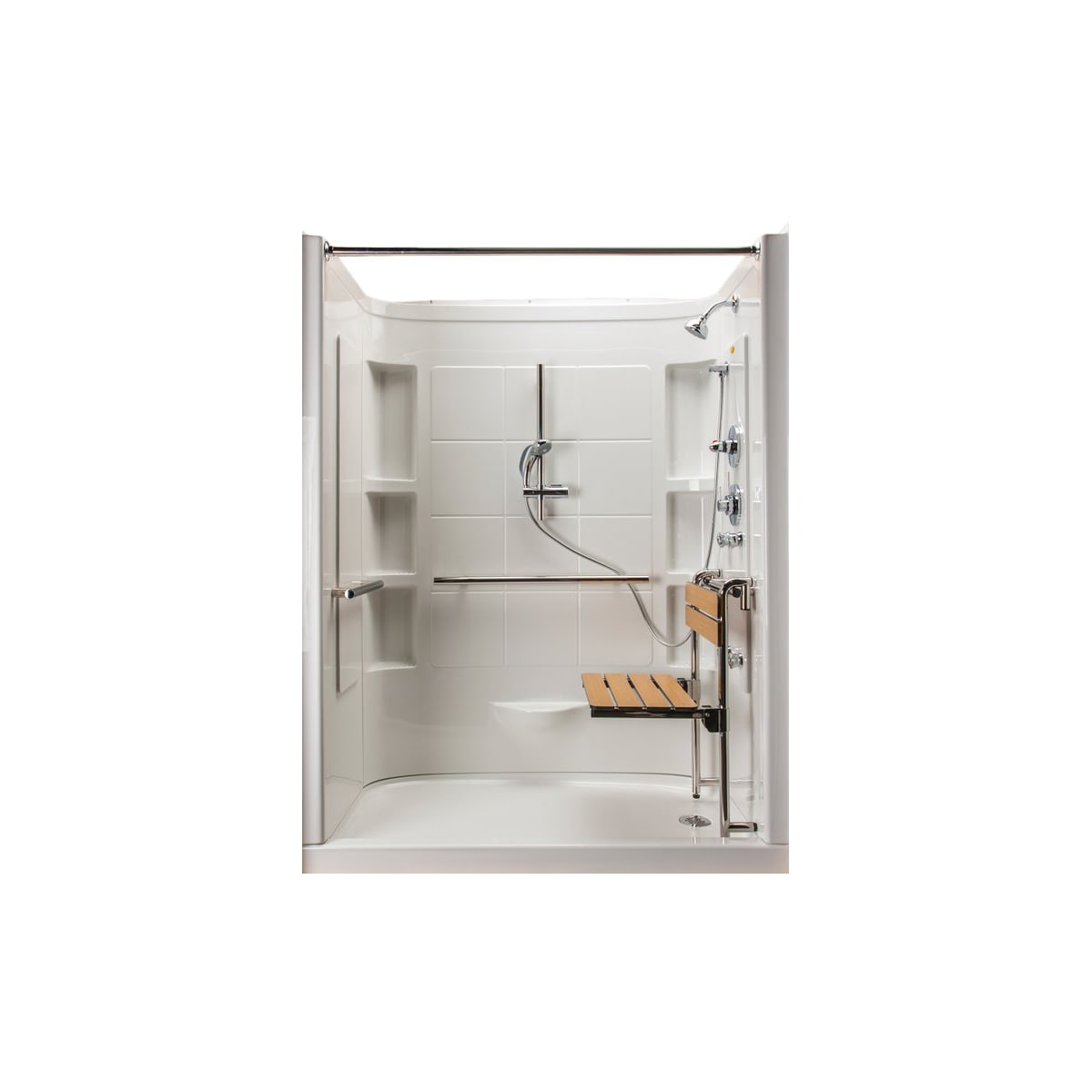 """Jacuzzi Finestra 60"""" x 30"""" Alcove Shower Module with Right Hand Drain, Removable Seat, Shower Head, Hand Shower, 4 Body Jets, and 3 Grab Bars"""