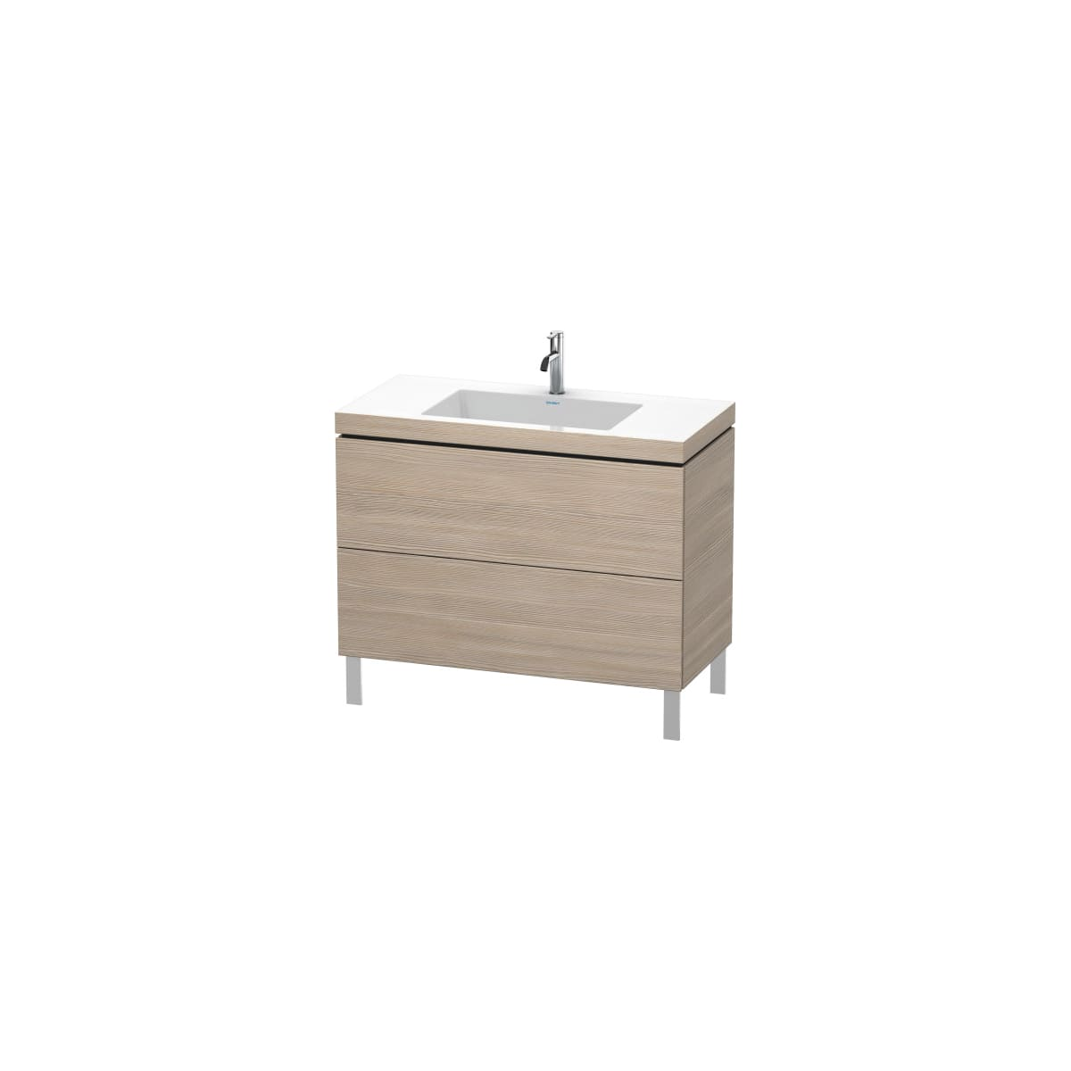 "Duravit L-Cube 39-3/8"" Free Standing Single Basin Vanity Set with Wood Cabinet and Vanity Top"