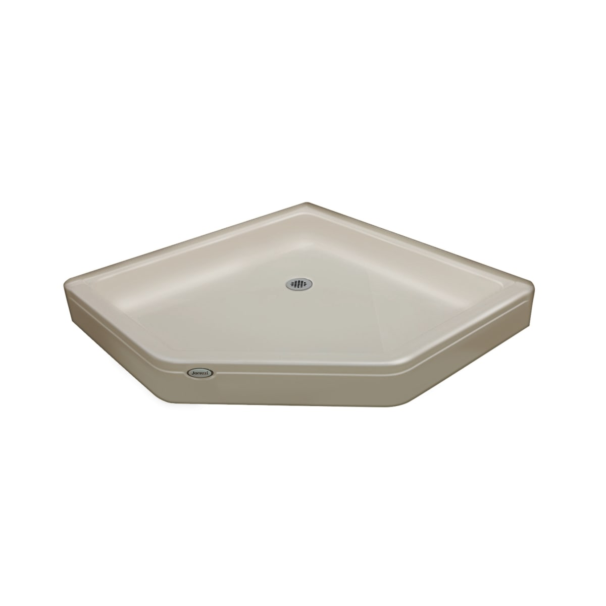 """Jacuzzi Cayman 38"""" x 38"""" Neo-Angle Shower Pans with Center Drain"""