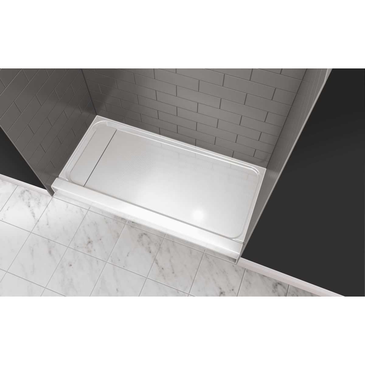 """Jacuzzi Catalina™ 60"""" X 30"""" Rectangular Shower Pan with Single, Low-Barrier Threshold with Left Drain"""