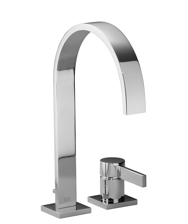 DornBracht Two-hole lavatory mixer with individual flanges with drain - Dark Platinum matte
