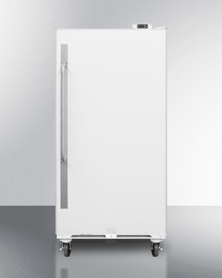 Commercially approved frost-free all-refrigerator with digital thermostat, casters, right hand door swing, and lock