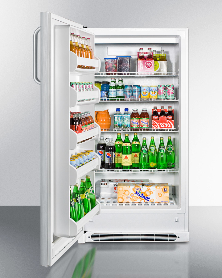 Model: R17FFSSTBLHD | Summit Large capacity all-refrigerator with frost-free operation, stainless steel door and towel bar handles; left hand door swing