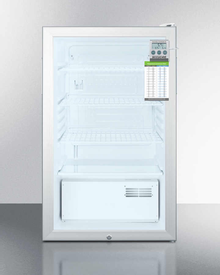 20' wide commercial glass door refrigerator for freestanding use, auto defrost with a lock, traceable thermometer and internal fan