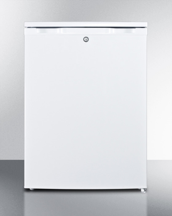 Counter height all-freezer with lock and door storage