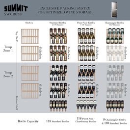 Model: SWC1875B | Summit Dual zone design to store red and white wine under the right conditions